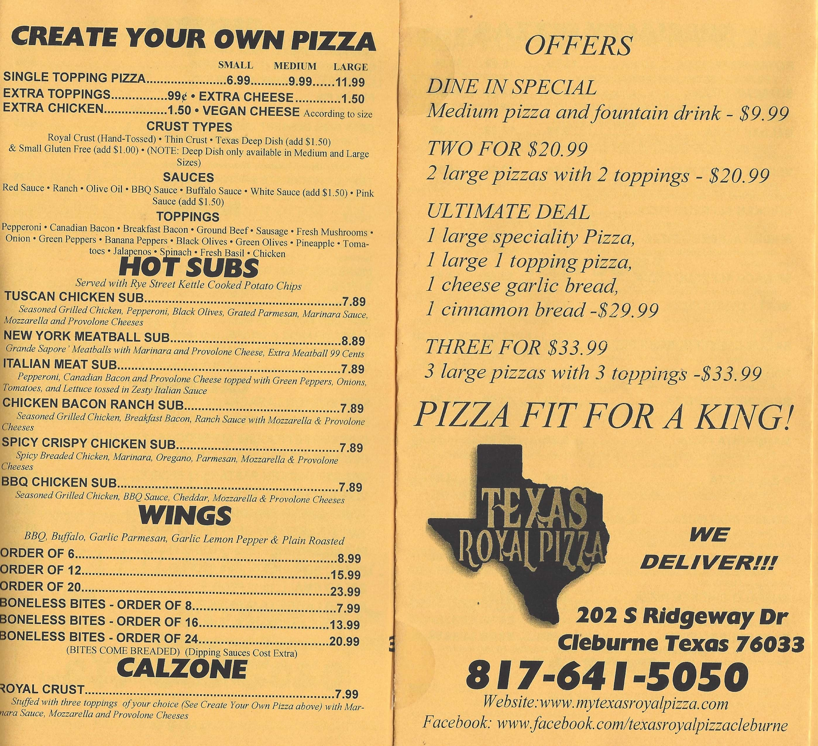 Texas Royal Pizza Menu